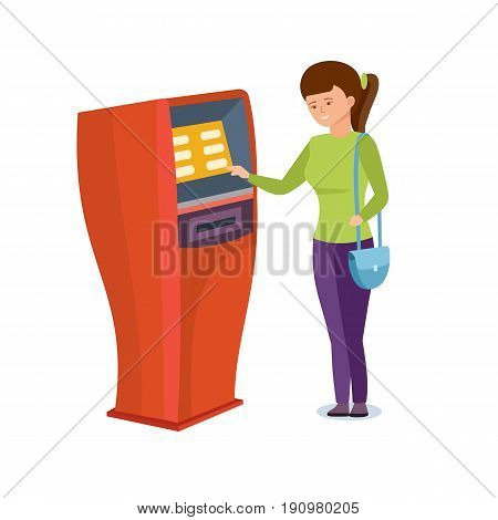 The girl uses the financial services of the bank terminal for her personal purposes. Vector illustration isolated on white background in cartoon style.