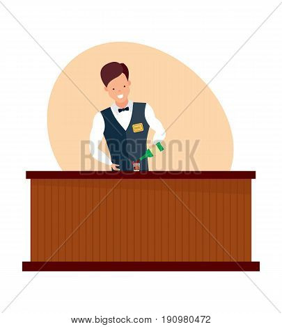 Staff set. Barista in apron in coffee shop. Bartender at work, standing at bar counter, with bottle pouring wine in glass. Vector illustration on white background in cartoon style.