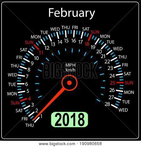 Year 2018 calendar speedometer car in concept. February.
