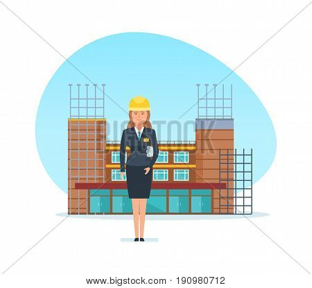 Engineer designer girl, with technical documentation in hand, stands in the background of the building, which is under construction. Construction building. Vector illustration in cartoon style.
