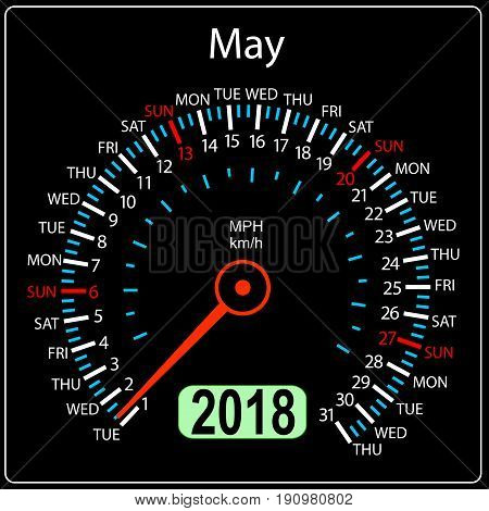 Year 2018 calendar speedometer car in concept. May.