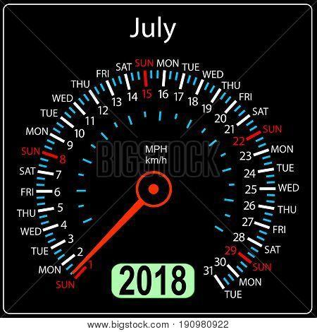 Year 2018 calendar speedometer car in concept. July.