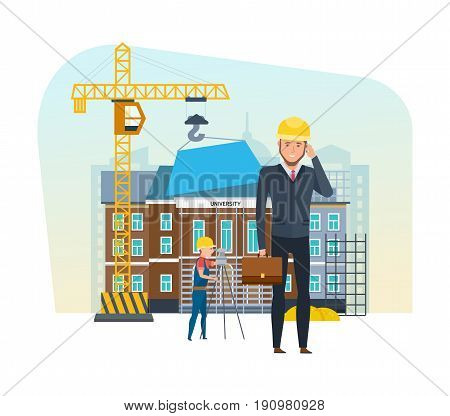 Head of construction company, with briefcase in hand, stands on background of equipment, team of builders, building under construction, and is talking on phone. Vector illustration in cartoon style.