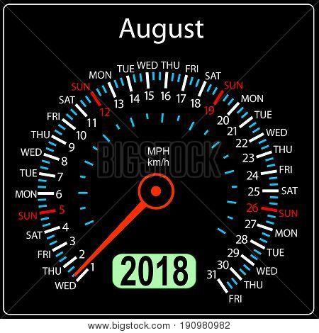Year 2018 calendar speedometer car in concept. August.