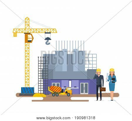Head of the company and chief engineer, inspect the of a cinema under construction. Construction under development. Modern vector illustration isolated on white background.