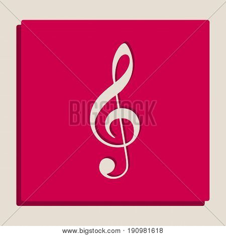 Music violin clef sign. G-clef. Treble clef. Vector. Grayscale version of Popart-style icon.
