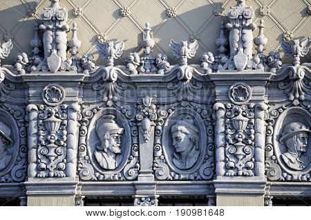 Architectural details on the El Capitan theatre in Hollywood area of Los Angeles California.
