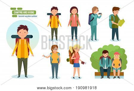 Camping and hiking. Journey and travel by nature. Tourists, engaged in hiking, camping, as well as basic equipment and tools in joint hikes couple. Vector illustration, people in cartoon style.