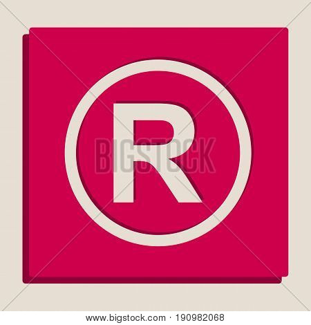 Registered Trademark sign. Vector. Grayscale version of Popart-style icon.