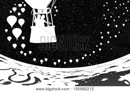 Lovers in balloon at night. Vector illustration with silhouette of loving couple under starry sky. Landscape with hot air balloons flying over rivers and lakes. Inverted black and white