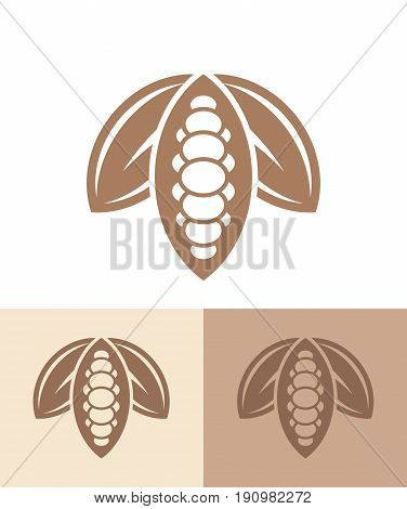 Cocoa. Icon set. Abstract cocoa beans on different background