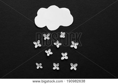 paper cloud and rain of white flowers of lilac. the concept of bad weather.