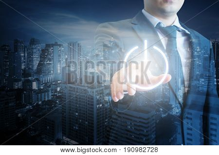 Double Exposure Of Professional Businessman Pressing Power Button On Digital Touch Screen And Busine