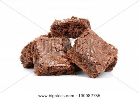 homemade baked brownies on a white background