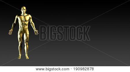 Human Body Presentation Background for Medical Anatomy Art 3d Illustration Render