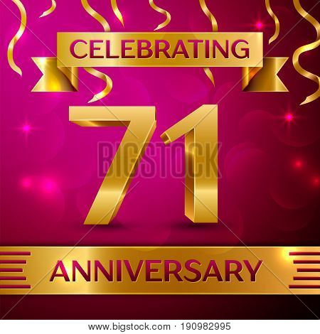 Seventy one Years Anniversary Celebration Design. Confetti and golden ribbon on pink background. Colorful Vector template elements for your birthday party. Anniversary ribbon