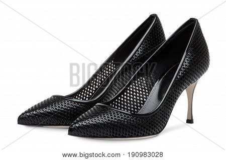 Women's high heeled shoes.Perforated women's high heel shoes
