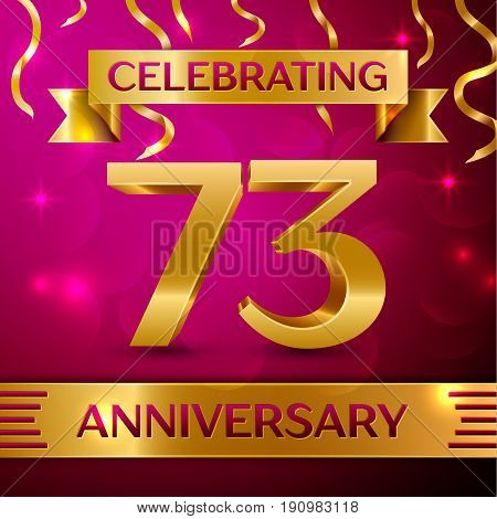 Seventy three Years Anniversary Celebration Design. Confetti and golden ribbon on pink background. Colorful Vector template elements for your birthday party. Anniversary ribbon