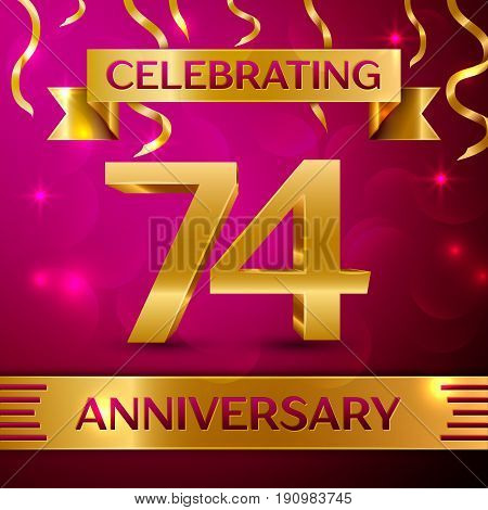 Seventy four Years Anniversary Celebration Design. Confetti and golden ribbon on pink background. Colorful Vector template elements for your birthday party. Anniversary ribbon