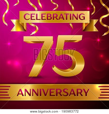 Seventy five Years Anniversary Celebration Design. Confetti and golden ribbon on pink background. Colorful Vector template elements for your birthday party. Anniversary ribbon