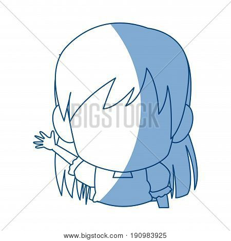 manga anime girl chibi character contour vector illustration