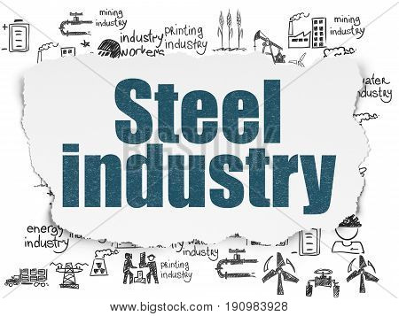 Industry concept: Painted blue text Steel Industry on Torn Paper background with  Hand Drawn Industry Icons