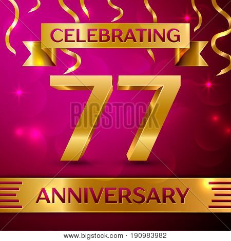 Seventy seven Years Anniversary Celebration Design. Confetti and golden ribbon on pink background. Colorful Vector template elements for your birthday party. Anniversary ribbon