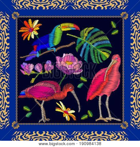 Scarf pattern with ibises, toucan and palm leaf. Colorful composition with bohemian motifs.