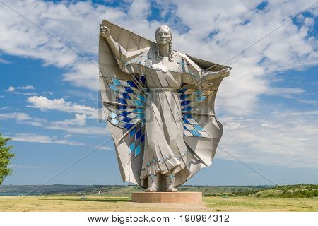 Dignity Sculpture Of American Indian Woman.