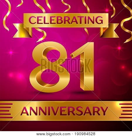 Eighty one Years Anniversary Celebration Design. Confetti and golden ribbon on pink background. Colorful Vector template elements for your birthday party. Anniversary ribbon