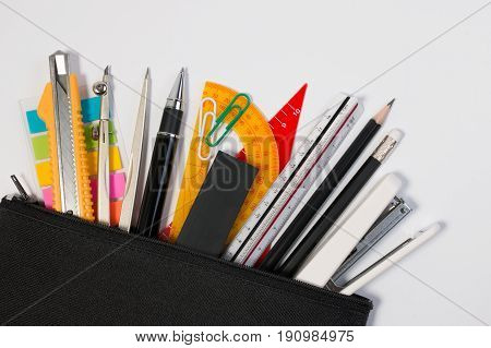 Education Object Pencil Bag Or Pencil Box With Education Supplies. Education Background With Black P