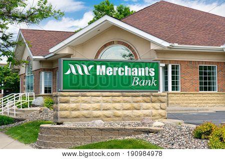 Merchants Bank Exterior And Sign
