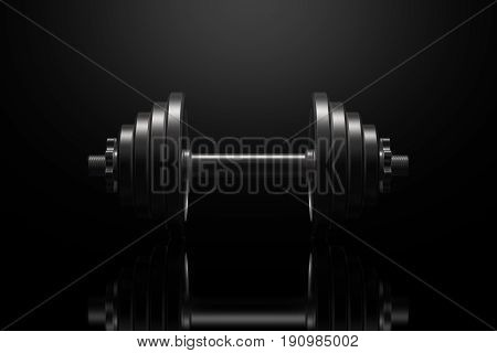 Dumbbell on a black reflective surface. Professional studio lighting from above. The silhouette of a heavy metal dumbbell. Cast iron discs and handle. Landscape orientation. 3D illustration.