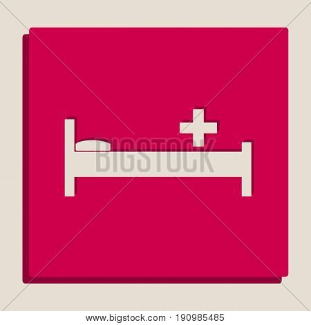 Hospital sign illustration. Vector. Grayscale version of Popart-style icon.