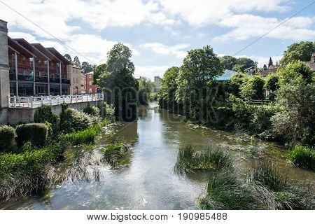 A view of the river from the bridge at Bradford on Avon Wiltshire UK