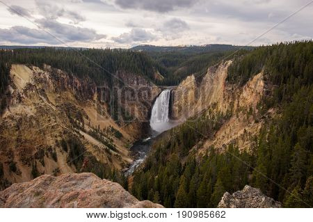 View from a ridge of the Grand Canyon of Yellowstone of the Upper Falls.