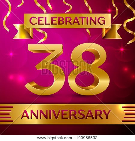 Thirty eight Years Anniversary Celebration Design. Confetti and golden ribbon on pink background. Colorful Vector template elements for your birthday party. Anniversary ribbon