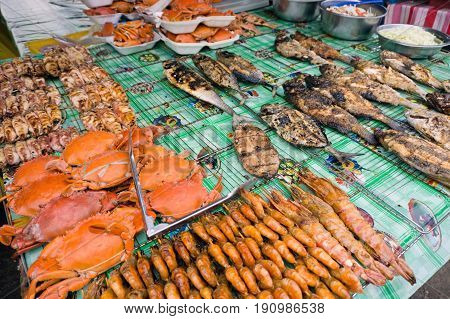 Grilled Seafood At Filipino Night Market In Kota Kinabalu Sabah Borneo