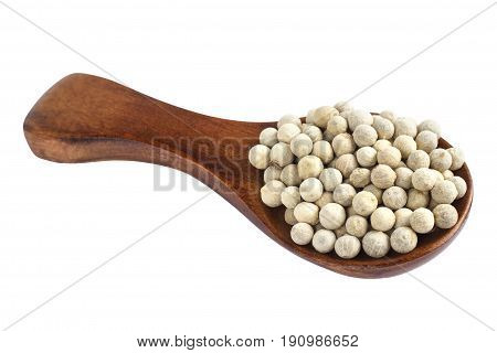 Wooden Spoon And Peppercorn On White Background