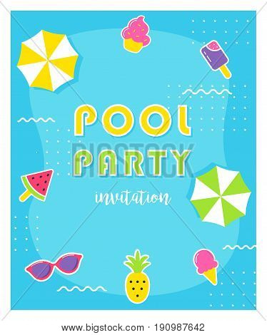 Summer Pool Party Poster or Invitation Card. Vector Illustration