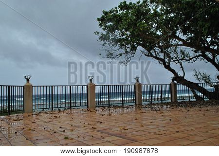 Abandoned patio with railings by the seaside An abandoned patio by the beach with fallen leaves during a rainy day