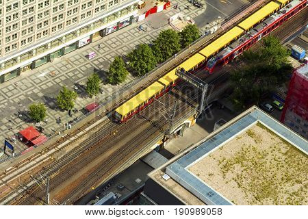 Aerial View Of The S-bahn Tracks Rapid Train And Tram Train At T