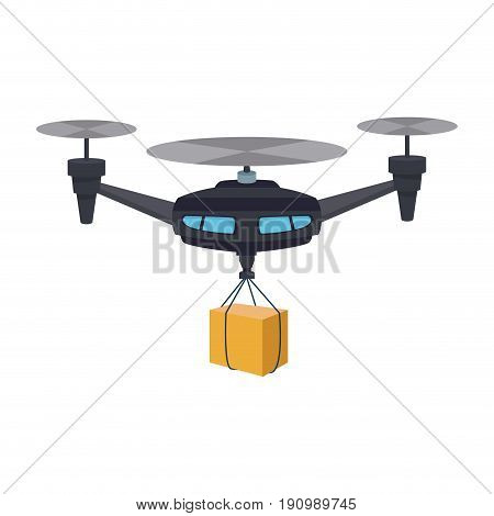 remote air drone with a box flying delivery of the package vector illustration