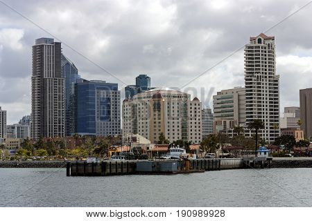 SAN DIEGO CA - MAY 20,2014:A View of San Diego Bay and Downtown San Diego on a spring day California on May 20, 2014.