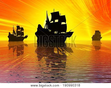 Ancient sail ships at sunset 3d illustration.