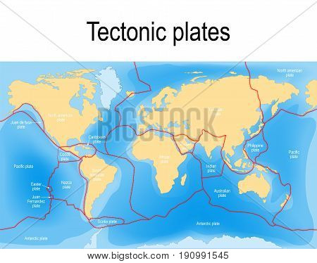 Plate tectonics map. major an minor plates. Vector illustration.