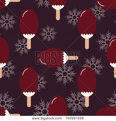 Seamless summer winter mood pattern with sweet ice cream and snowflakes. Texture with cold desserts ice cream fudge sundae