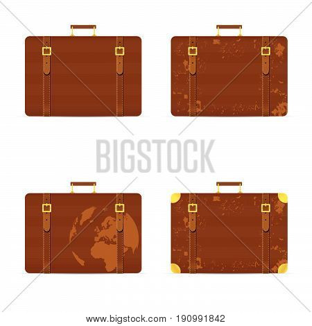 Travel Bag Set Ancient In Brown Color Illustration