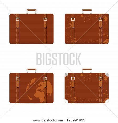 Travel Bag Set Old With Globe Illustration