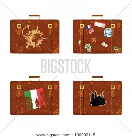 Travel Bag Set With Historic Monument On It Illustration